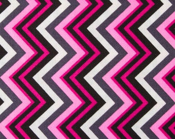100% Cotton Zigzag Print Fabric Magenta, Black, White