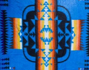 Blue Aztec Print Polar Fleece Fabric by the Yard
