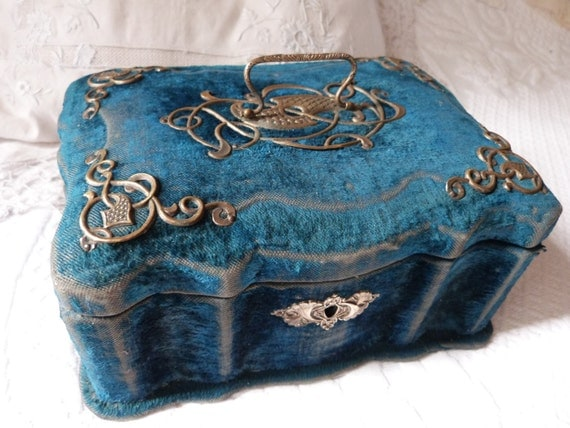 Antique Velvet Wooden Jewelry Box W Ormolu Design Rare 1800s