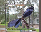 Grape/White Wispy Translucent Stained Glass Dragonfly in Bevel Frame - 7 x 7