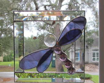 Stained Glass Dragonfly in Bevel Frame  in Grape/White Wispy Translucent - 7 x 7
