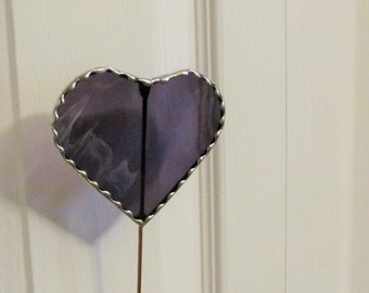 Grape Waterglass Heart - Stained Glass -  Garden/ Marker/Potted Plant Stake/Memorial Marker
