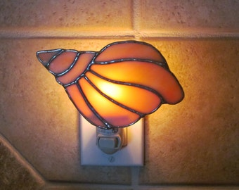 Conch Shell Night Light in a Orange and White Swirl Opalescent Glass- Handcrafted Authentic Stained Glass - Unique Gift Idea