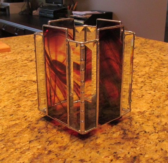 Brown and clear baroque stained glass candle shelter unique for Clear baroque glass