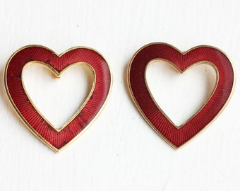 Enamel Heart Pendants - Red (2x)