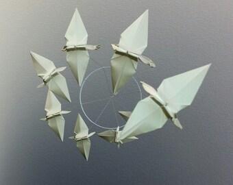 Pure White Origami Crane Spiral Mobile