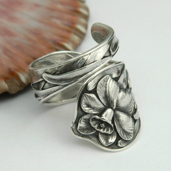 sterling silver spoon ring daffodil spoon ring spoon jewelry