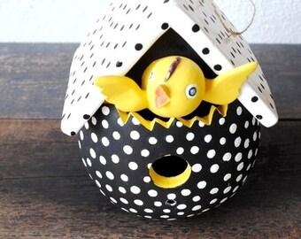 Vintage Easter Egg Ornament Large Birdhouse, Adorable Yellow Chick in Black White Polka Dot Bird House, Dept 56