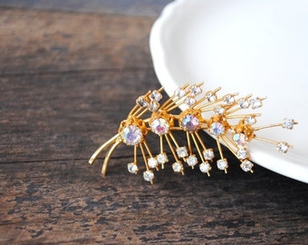 1960s AB Crystal Gold Pin, Signed Vintage Designer Jewelry, Gorgeous Aurora Borealis Triad Brooch