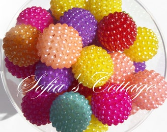20mm 10CT Multi Colored Berry Beads, G37