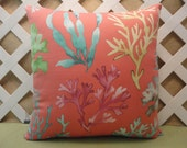 Ocean Coral Pillow Cover in Peach, Aqua, Yellow, Plum, and Green