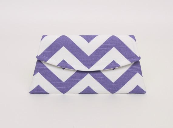 Small Purple Chevron Clutch, Purple Clutch, Lavender Zig Zag Clutch, Gabbie Clutch, Small Purple Clutch, READY TO SHIP