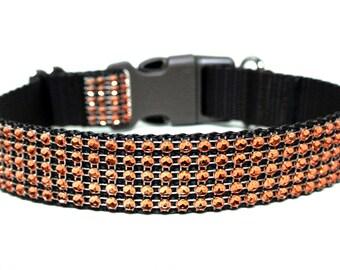 """Fall Dog Collar 1"""" Orange Rhinestone Dog Collar SIZE MEDIUM"""