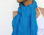 Crinkle Scarf Turquoise Blue 70 x 38