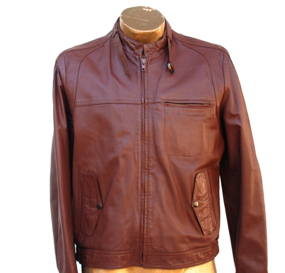 Reserved for Casey: Men's leather bomber jacket in burgundy / rust size medium by Bertini
