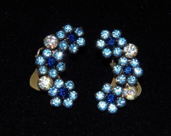 Vintage Clip-On Earrings - Blue Earrings - Crystal Earrings - Blue Flower Earrings - Flower Clip-On Earrings - Costume Jewelry - Free Ship