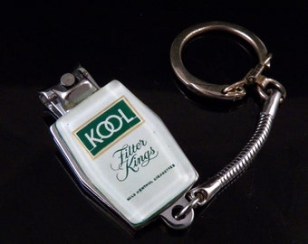 Vintage Keychain - Vintage Nail Clipper - Kool Kings Filter Keychain - Kool Kings Filter Finger Nail Clipper - Free Shipping to USA