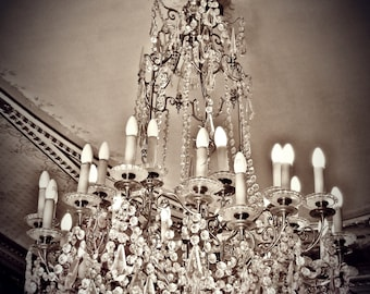 Paris, France ,Crystal Chandelier ,Fine Art Photograph, Sepia,Fashion, Preppy,Parisian, Boudoir, Romantic, French,Nursery, Dreamy,Dorm,Chic
