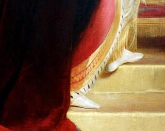 The White Slipper, Fine Art Photograph, Shoe Art, Fashion Photography, Princess, Baby Girl Nursery, Ruby Red, Golden Color, Romance, Royal