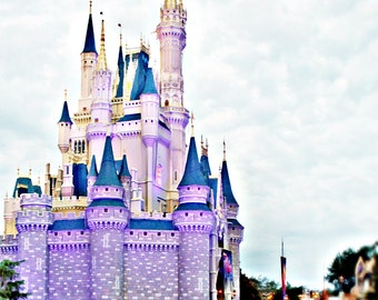 Cinderella Castle,Princess Photography, Dream, Romance, French, Pink Nursery,Baby Girl, Fluffy Clouds, Cotton Candy Pink, Lavender, Purple