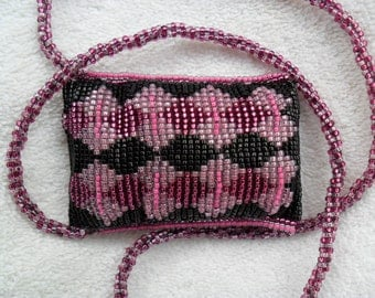Amulet Bag / Medicine Bag / Stash Bag / pink purple and black