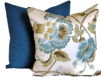 Duralee Jacobean Decorative Pillow Throw Pillow Pillow Cover 18x18 20x20 22x22 or 14x20 Lumbar Pillow Accent Pillow Aqua Blue Mocha &