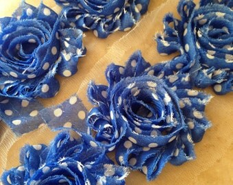 By the yard-Royal Blue w/white Polka Dot-Shabby Flowers/Shabby Trim/Shabby Chic --full yard approx. 14 flowers. -1/2 yard, approx. 7 flowers