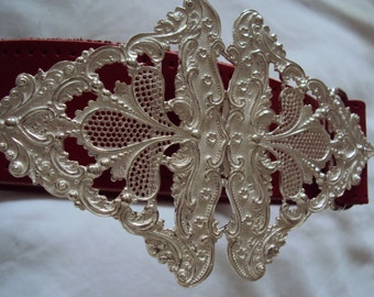 Solid Sterling Silver Dazzlingly Rococo Style Belt Buckle