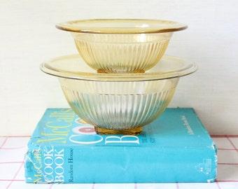 Vintage Federal Glass Amber Yellow Mixing Bowl Set