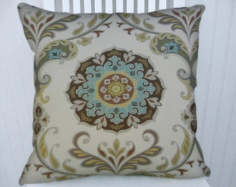 Tan Aqua Suzani Pillow Cover 18x18 or 20x20 or 22x22, Accent Pillow, Decorative Pillow Cover -Throw Pillow Yellow Aqua Green Grey