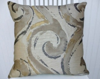 Brown Grey Decorative Pillow Cover--18x18 or 20x20 or 22x22- Abstract Throw Pillow- Accent Pillow