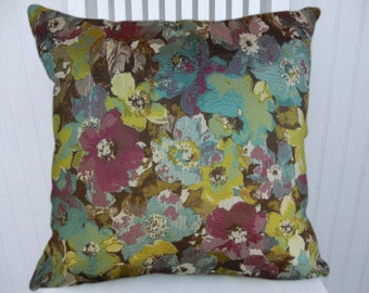 Aqua, Fuchsia   Pillow Cover- NEW!!  18x18 or 20x20 or 22x22 Floral Decorative Throw Pillow- Accent Pillow