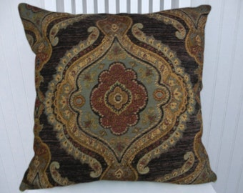 Brown Black Suzani Pillow Cover- Decorative Throw Pillow Cover 18x18 or 20x20 or 22x22  Accent Pillow Cover