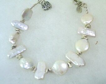 Coin and Biwa Stick Pearl Bracelet with Silver Heart Charm and Heart Clasp
