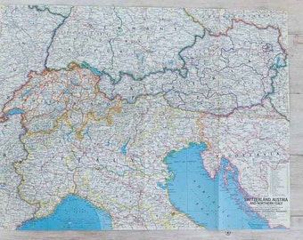 vintage 1965 switzerland, austria and northern italy/the alps national geographic wall map