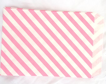 Pink Paper Bags-medium sized-party favors--gifts---weddings--showers--24ct