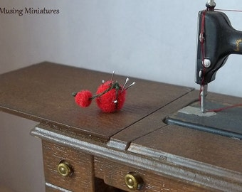 Vinage Style Tomato Pincushion in 1 Inch Scale for Dollhouse Miniature Sewing or Tailor Shop
