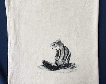 Chipmunk, tea towel, hand printed