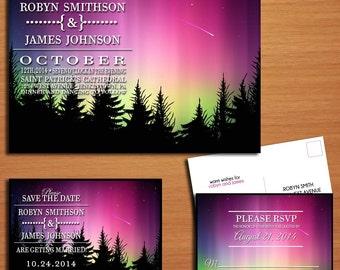 Northern Lights / Aurora Borealis Wedding Collection / Invitation / RSVP / Save the Date Postcard PRINTABLE / DIY