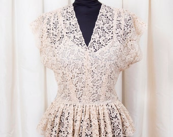 1940s Dress // Designer Ecru Lace Peplum Dress by Capri Originals