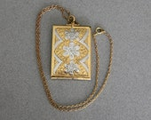 Vintage 1940s 1950s Retro Large Rectangular Photo Locket in Two Tone Metal with Floral Engraving