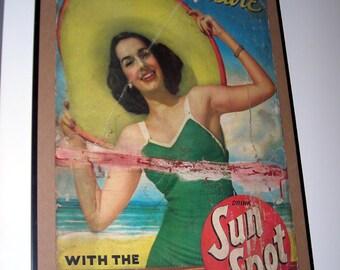 LARGE Original Vintage Sign For Your Pleasure Sun Spot Sunspot Advertisement Board Mid-Century Summer Beach 1940s 50s Eames Mad Men Era Rare