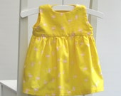 Baby girl cotton dress size 0-3 months 56 centilong yellow pink flamingos