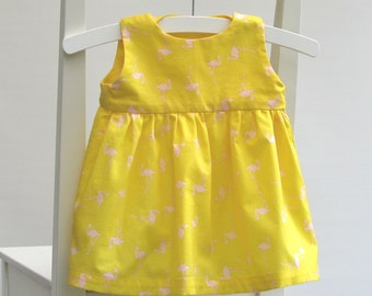 SALE - Baby girl cotton dress size 0-3 months 56 centilong yellow pink flamingos