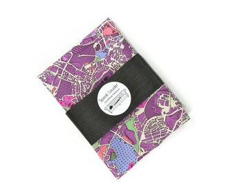 Mens Pocket Square The World Is Not Enough Purple- London map