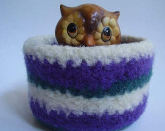 felted wool bowl striped cream plum teal desktop organizer jewellry holder