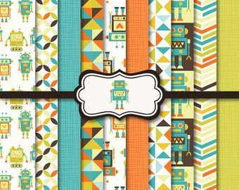 Robots Digital Paper Background Set - Commercial and Personal use