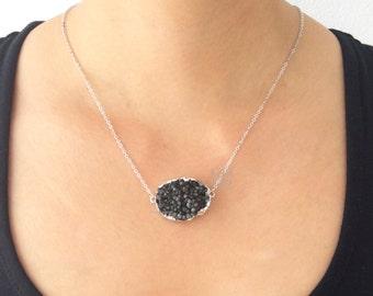 Black Druzy Necklace Silver Onyx Black Geode Drusy Gemstone Layering Long Mineral Rustic Modern Statement Natural Quartz Crystal Stone C1