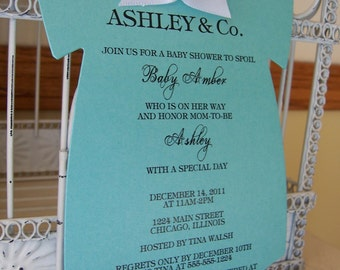The Original Aqua Baby Shower Aqua Blue Themed Baby Shower Invitation  - Custom Die Cut