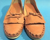 Vintage 90s Tan Indie Hipster Moccasins Wedge Heel For Her Women Fall Streetwear Casual Stitched Boho Brazil Clothing Accessories 7 8 M